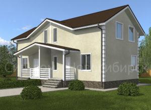 Готовый проект недорогого, каркасного дома на две семьи 253 м2 из СИП панелей с отделкой под ключ (Новосибирск, Томск, Барнаул, Алтай, Новокузнецк)