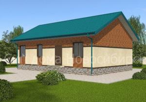Готовый проект №46 недорогого, каркасного дома 105 м2 из СИП панелей с отделкой под ключ с имитацией кирпичной кладки (Новосибирск, Томск, Барнаул, Алтай, Новокузнецк)