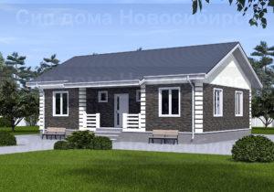 Готовый проект №44 недорогого, каркасного, одноэтажного дома 98 м2 из СИП панелей с отделкой под ключ с имитацией кирпичной кладки (Новосибирск, Томск, Барнаул, Алтай, Новокузнецк)