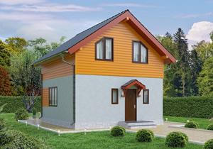 Готовый проект №3 недорогого, каркасного дома 91 м2 из СИП панелей с отделкой под ключ с имитацией камня (Новосибирск, Томск, Барнаул, Алтай, Новокузнецк)