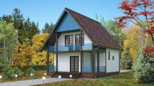 Готовый проект №42, 122 м2, недорогого, каркасного дома с балконом из СИП панелей (Новосибирск, Барнаул, Томск)
