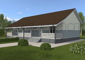 Готовый проект №51 недорогого, каркасного дома на две семьи 127 м2 из СИП панелей с отделкой под ключ (Новосибирск, Томск, Барнаул, Алтай, Новокузнецк)