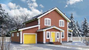 Готовый проект №11, 177 м2, недорогого, каркасного дома с гаражом из СИП панелей (Новосибирск, Барнаул, Томск)