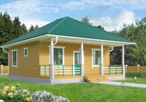 Готовый проект №20, 63 м2, недорогого, каркасного одноэтажного дома с верандой из СИП панелей (Новосибирск, Барнаул, Томск)