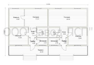 Планировка готового проекта №51 недорогого, каркасного дома на две семьи 127 м2 из СИП панелей (Новосибирск, Томск, Барнаул, Алтай, Новокузнецк)