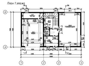 Планировка 1 этажа готового проекта №30 недорогого, каркасного дома из СИП панелей с гаражом (Новосибирск, Томск, Барнаул, Алтай, Новокузнецк