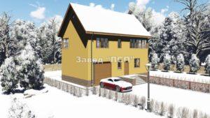Готовый проект №30 недорогого, каркасного дома из СИП панелей с гаражом с внешней отделкой под ключ (Новосибирск, Томск, Барнаул, Алтай, Новокузнецк)