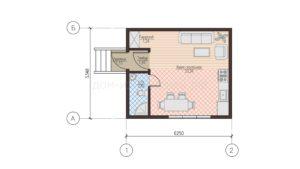 Готовый проект планировки недорогого дома-студии из СИП панелей. Проект 52, 33 м2 (Новосибирск, Томск, Новокузнецк, Алтай, Барнаул)