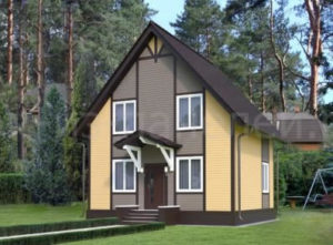 Готовый проект №53 недорогого, каркасного, классического дома 127 м2 из СИП панелей с отделкой под ключ в стиле фахверк (Новосибирск, Новокузнецк, Томск, Алтай, Барнаул)