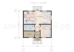 Готовый проект планировки первого этажа недорогого дома из СИП панелей. Проект 53, 127 м2 (Новосибирск, Барнаул, Новокузнецк, Томск, Алтай)