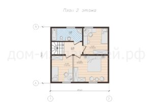 Готовый проект планировки второго этажа недорогого дома из СИП панелей. Проект 53, 127 м2 (Новосибирск, Барнаул, Новокузнецк, Томск, Алтай)