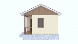 Боковой фасад недорогого, карксного дачного дома из СИП панелей для летнего отдыха