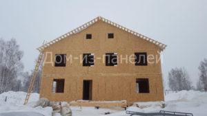 Фото строительства недорогого, быстровозводимого, каркасного дома из СИП панелей на две семьи по готовому проекту №34, 181 м2 (Новосибирск, Томск, Барнаул, Алтай, Новокузнецк)