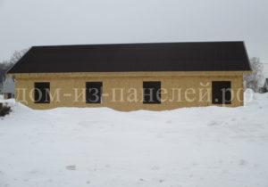 Фото готового недорогого, каркасного дома из СИП панелей на две семьи по проекту №51, 126 м2 с отделкой кровли под ключ ондулином (Новосибирск, Томск, Барнаул, Алтай, Новокузнецк)