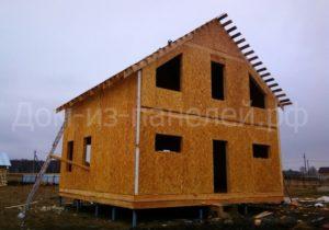 Фото строительства недорогого, быстровозводимого, каркасного двухэтажного дома из СИП панелей по проекту №6, 128 м2 (Новосибирск, Томск, Барнаул, Алтай, Новокузнецк)