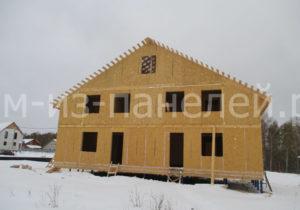 Фото строительства недорогого, быстровозводимого, каркасного дома из СИП панелей на две семьи по проекту №4, 235 м2 (Новосибирск, Томск, Барнаул, Алтай, Новокузнецк)